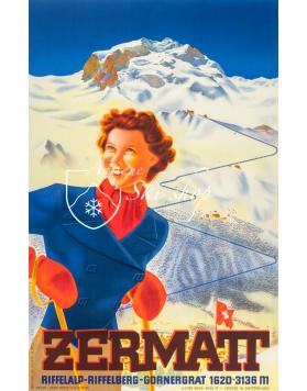 Vintage Swiss Ski Poster : ZERMATT (3)