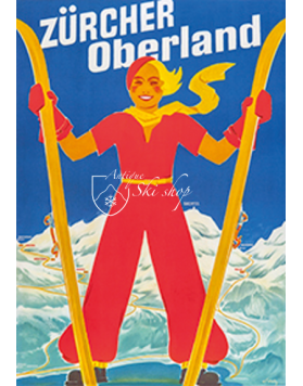 Vintage Swiss Ski Poster :  Zurcher Oberland