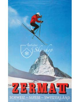 Vintage Swiss Ski Poster : ZERMATT MATTERHORN SKI JUMP