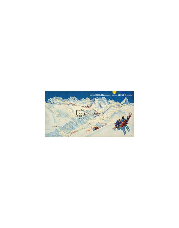 Vintage Swiss Ski Poster : ZERMATT: PISTE MAP (Seiler Hotels)