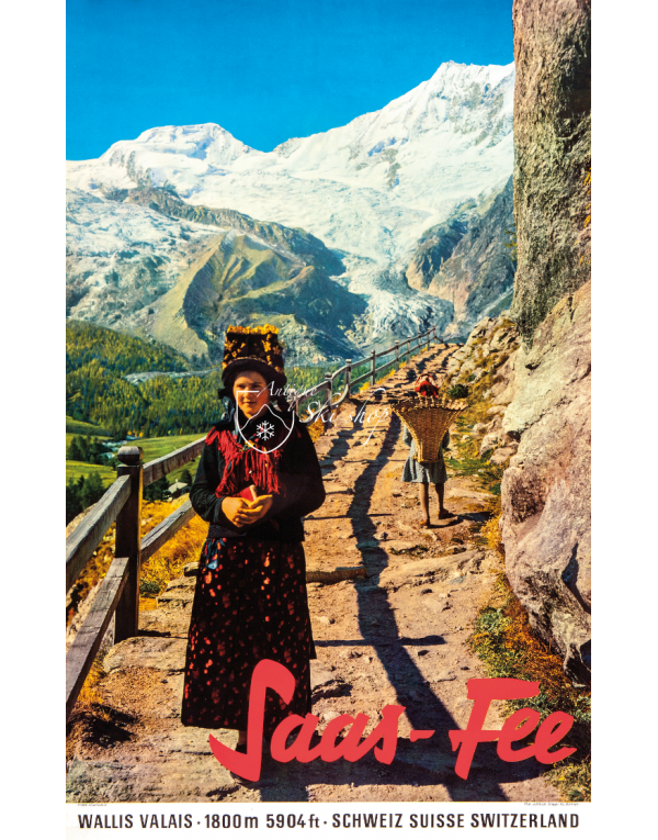 Vintage Swiss Travel Poster :  SAAS FEE