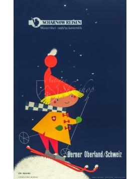 Vintage Swiss Ski Poster : Berner Oberland (Sharnow Reisen)