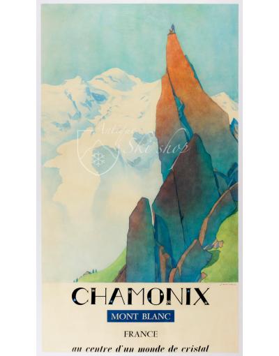 Vintage French Ski Poster : Chamonix -  Mont Blanc