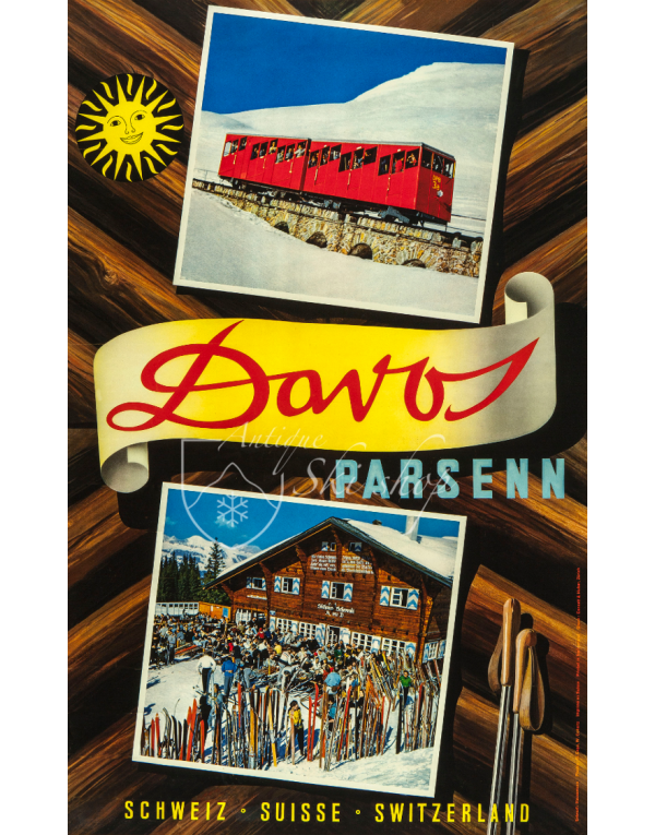 Vintage Swiss Ski Poster : Davos Parsenn (3)