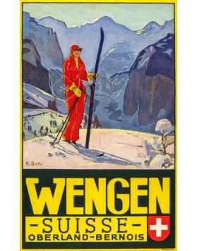 Vintage Swiss Ski Poster :  Wengen Suisse