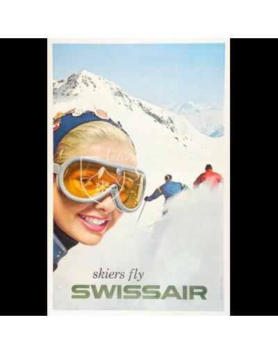 SKIERS FLY SWISSAIR (Print)