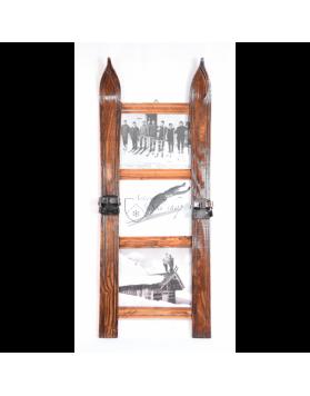 Three Panel Vintage Style Ski Frame (small) / Cadre de ski vintage à trois panneaux / Vintage Skirahmen für drei Fotos