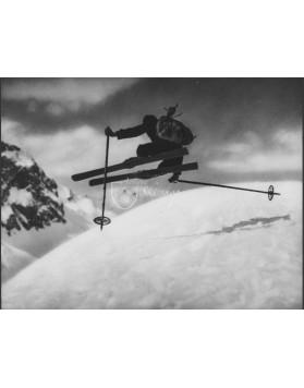 """Vintage Ski Photo - """"Side Kick"""" Jump"""