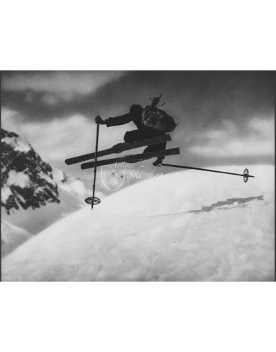 "Vintage Ski Photo - ""Side Kick"" Jump"