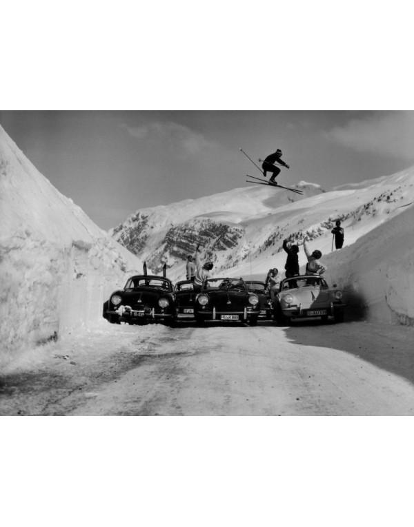 Vintage Ski Photo - Ski Jump over 5 Porsche 356's