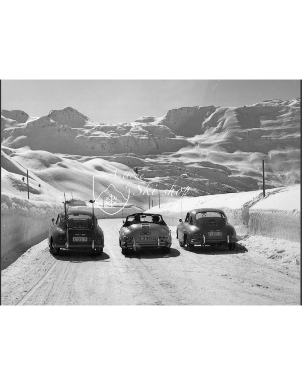 Vintage Ski Photo - 3 Porsche 356's on the Arlberg Pass