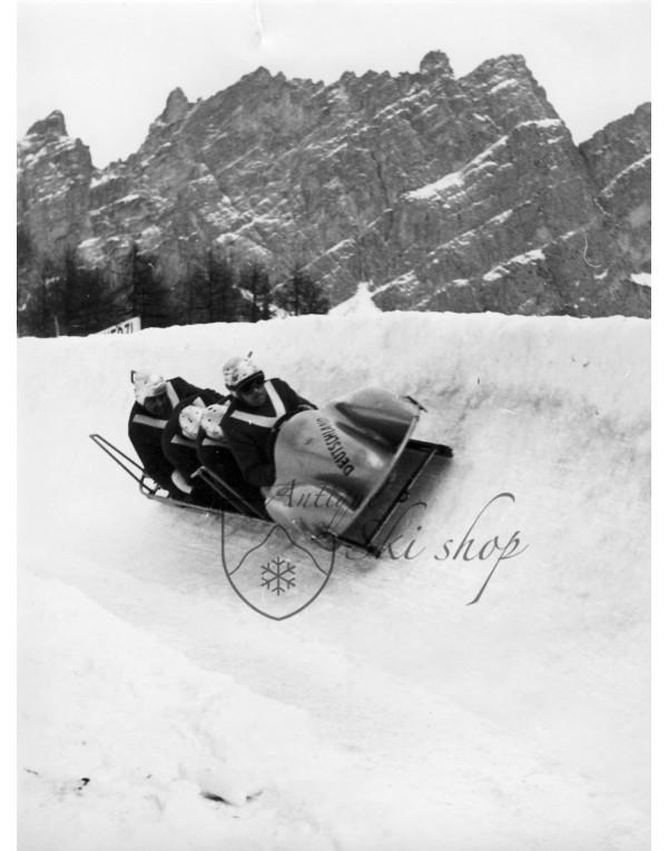 Vintage Bobsleigh Photo - Bobsleigh in Cortina