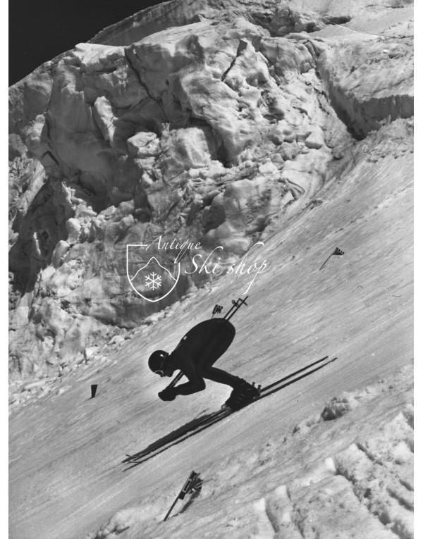Vintage Ski Photo - Kilometro Lanciato