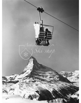 Vintage Ski Photo - Chairlift with a view of the Matterhorn