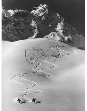 Vintage Ski Photo - Synchronized Powder Skiing