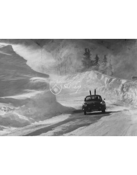 Vintage Ski Photo - Porsche 356 in a snow storm
