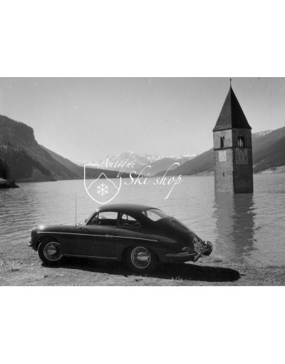Vintage Car Photo - Porsche 356 by the Reschensee