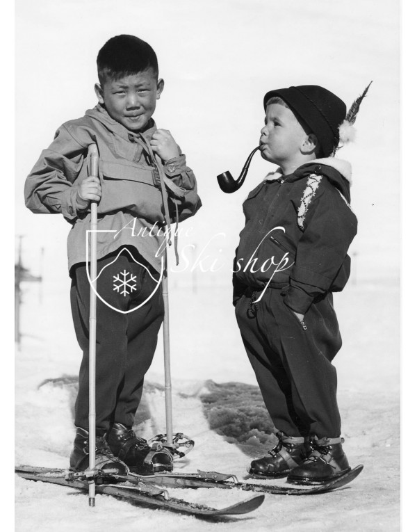 Vintage Ski Photo - A Curious Pair