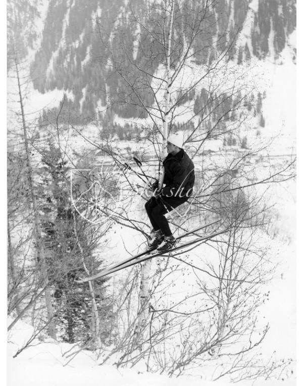 "Vintage Ski Photo - Toni Sailer ""Hanging in There"""