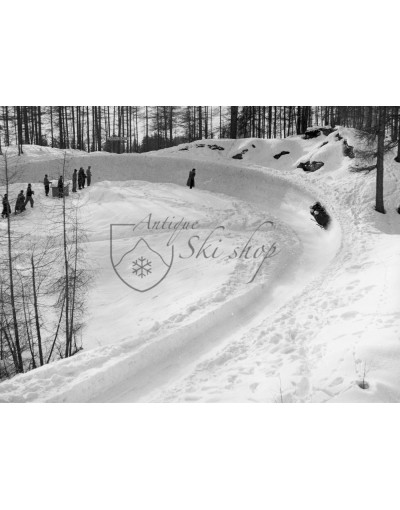 Vintage Bobsleigh Photo - Bobsleigh Run In Cortina