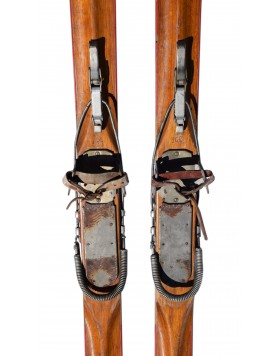 "Antique Swiss ""ROTH"" Skis & Poles"
