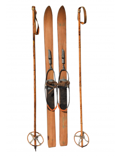 Antique Children Skis & Poles
