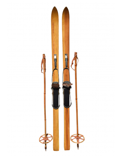Vintage 1950's Children Skis & Poles (Restored)