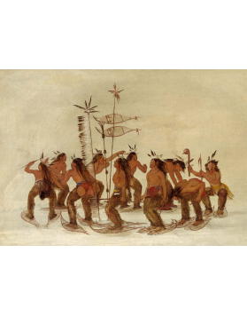 Ojibwe people performing the snowshoe dance, a celebration that took place at the first snowfall every year.