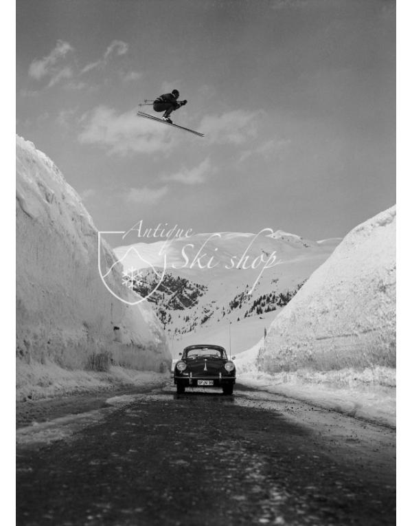 Vintage Ski Photo Porsche Jump (Front)
