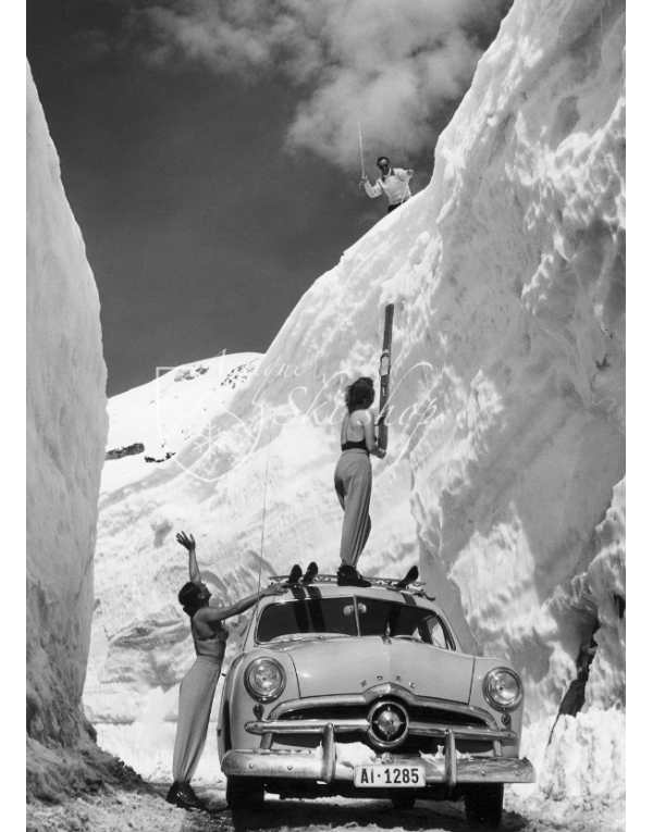 Vintage Ski Photo - A Ford on the Arlberg Pass