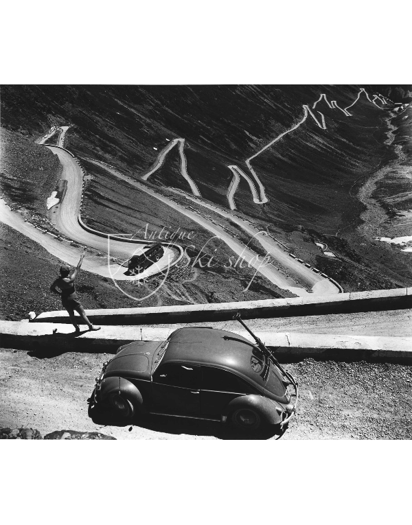 Vintage Car Photo - VW Beetle on a Mountain Pass