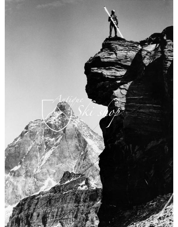 Vintage Ski Photo - Yuichiro Miura On Peak in Cervinia