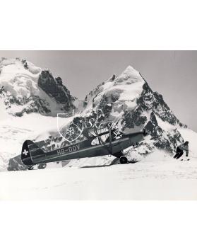 Vintage Mountain Photo - Plane on a Glacier