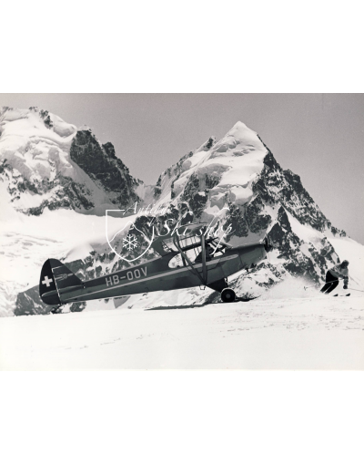 Vintage Mountain Photo - Plane on a Glacier