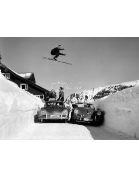 Vintage Ski Photo - Ski Jump Over 2 Porsche 356's