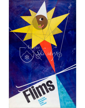 Vintage Swiss Ski Poster : FLIMS (Nr. 2)