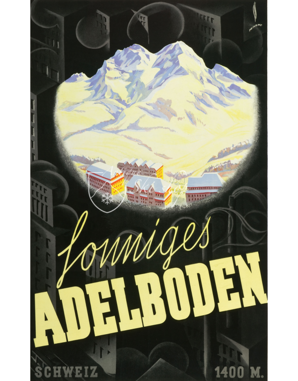 Vintage Swiss Ski Poster : SUNNY ADELBODEN