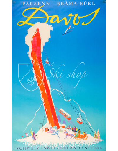 Vintage Swiss Ski Poster : DAVOS, PARSENN BRAMA-BUEL