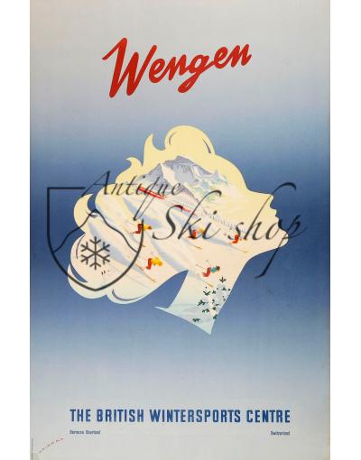 Vintage Swiss Ski Poster :  WENGEN - THE BRITISH WINTER SPORTS CENTRE
