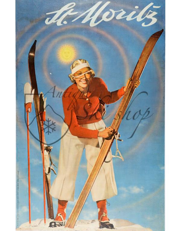 Vintage Swiss Ski Poster :  ST. MORITZ (Nr. 2)